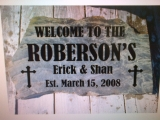 <h5>Etched Stone Welcome Sign</h5><p>Etched Stone Welcome Sign</p>