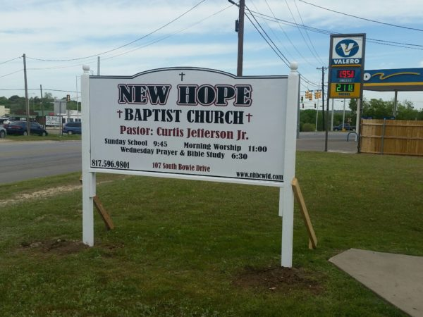 New Hope church sign