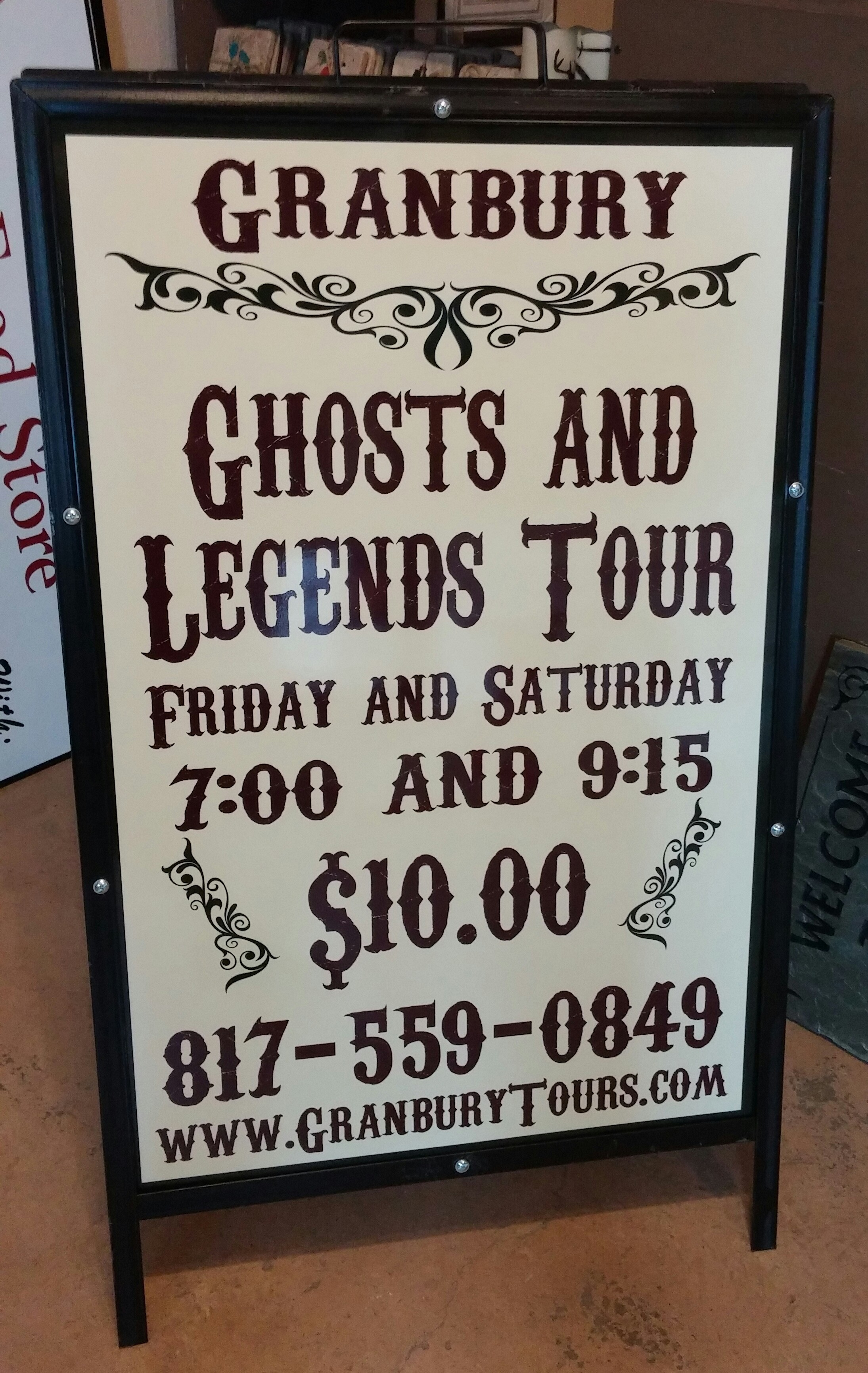 Granbury Ghost Tour Sign