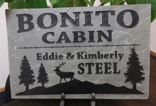 etched stone sign